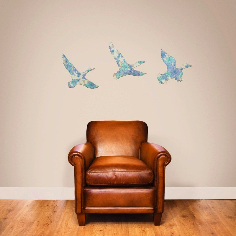 vintage wallpaper ducks-blue