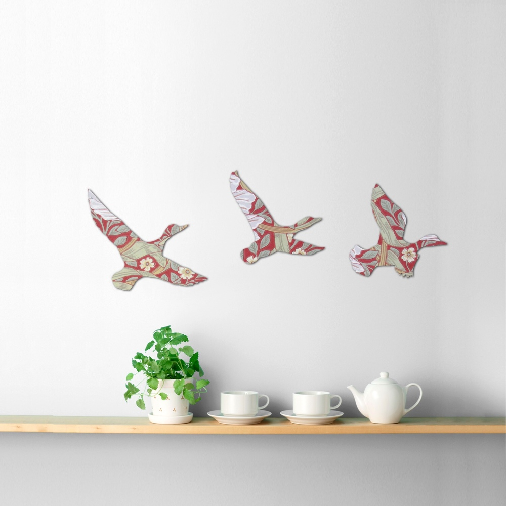 William Morris Wallpaper Wooden Ducks Set (Pimpernel)