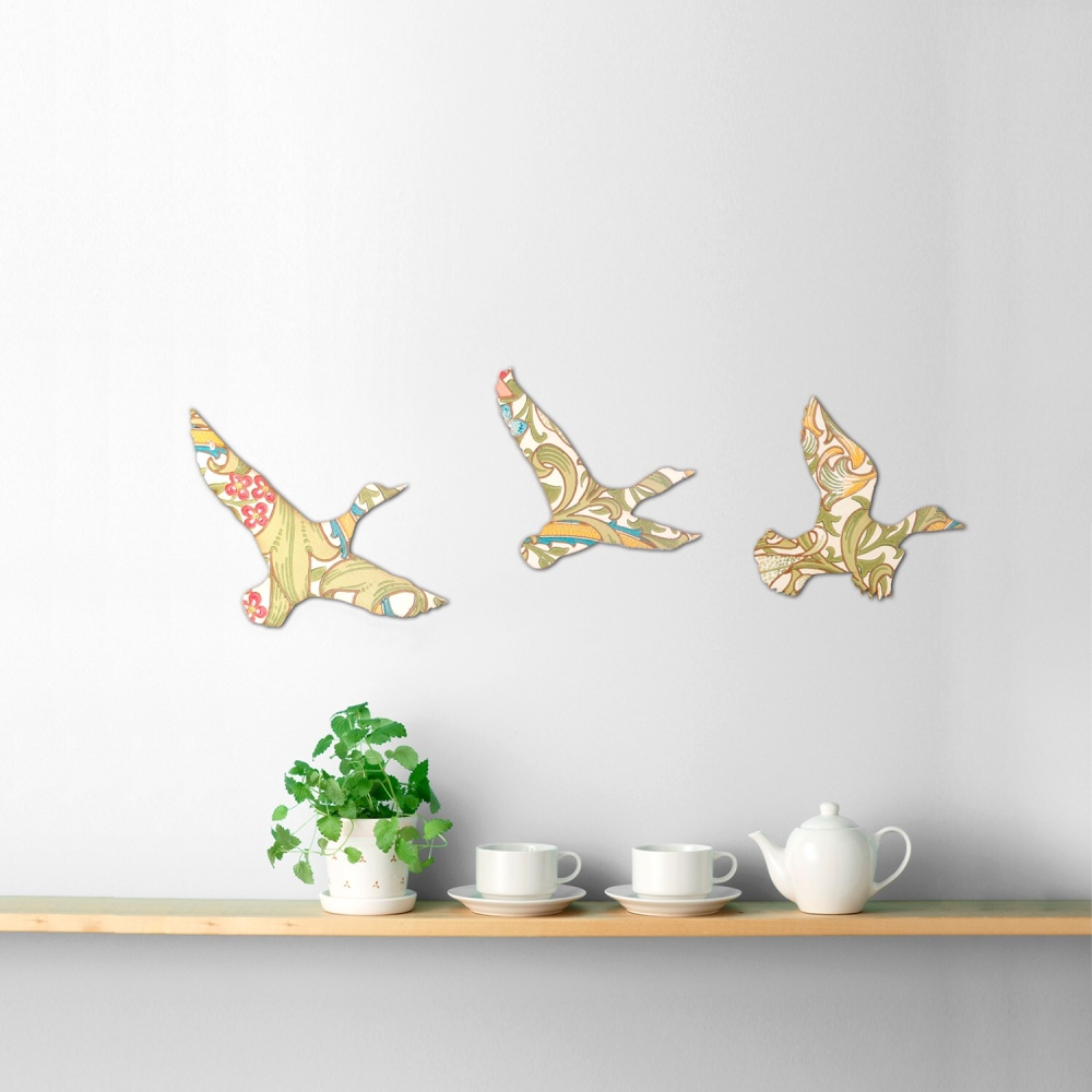 William Morris Wallpaper Wooden Ducks Set (Golden Lily)