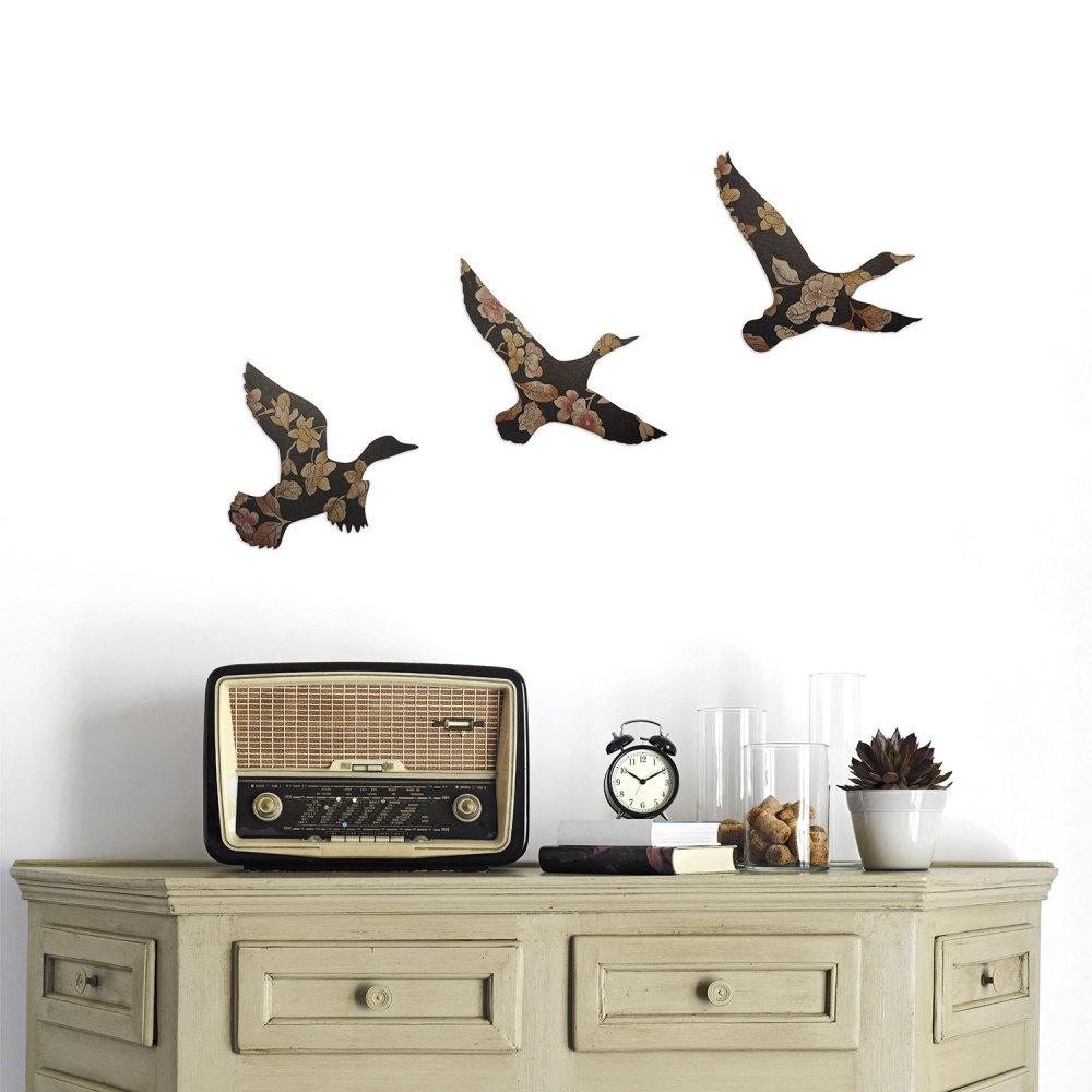 Set of Vintage Liberty Wallpaper Flying Ducks (Dark Floral)