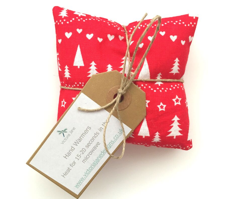 Christmas Hand Warmers - Red/White Christmas Trees