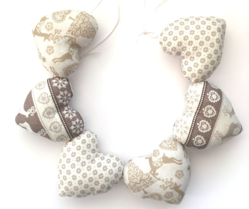 Christmas Heart Garland - Cream Scandi Style