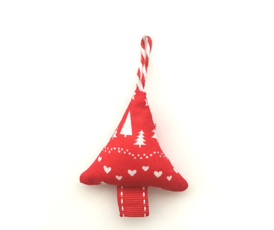 Mini Christmas Tree Decoration - Red/White Trees