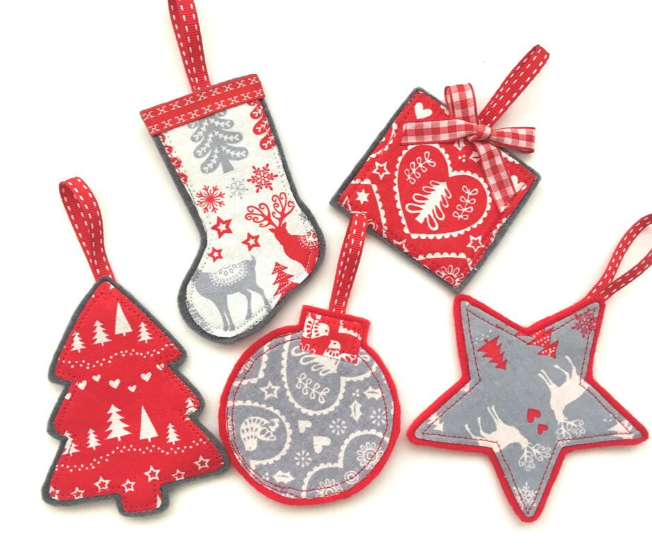 Red, Grey and White Christmas Decorations.