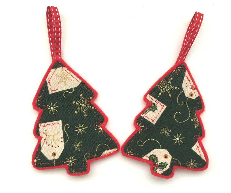 Green Christmas Tree Decorations x 2