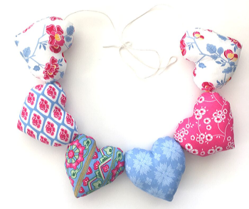 Heart Garland - Blue, Pink and White