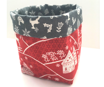 Christmas Basket - Red & Grey