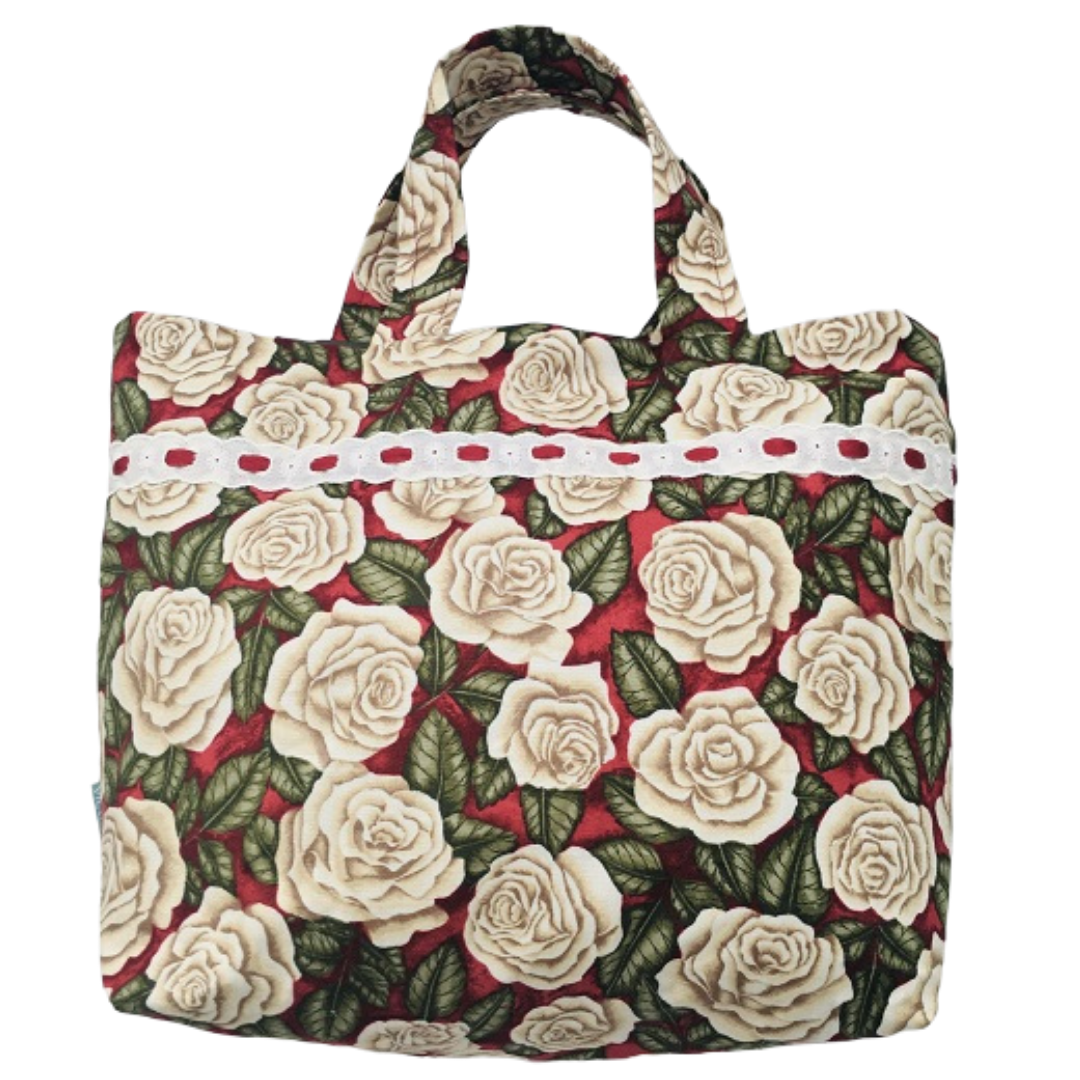 Tote Bag - Red with Cream Roses