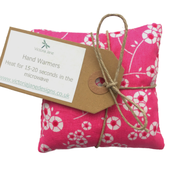 Hand Warmers - Bright Pink with White Flowers