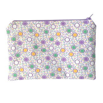 Zip-up Cosmetics Bag - Lilac/Green/Yellow Spots