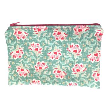 Zip-up Cosmetics Bag - Pink Flowers