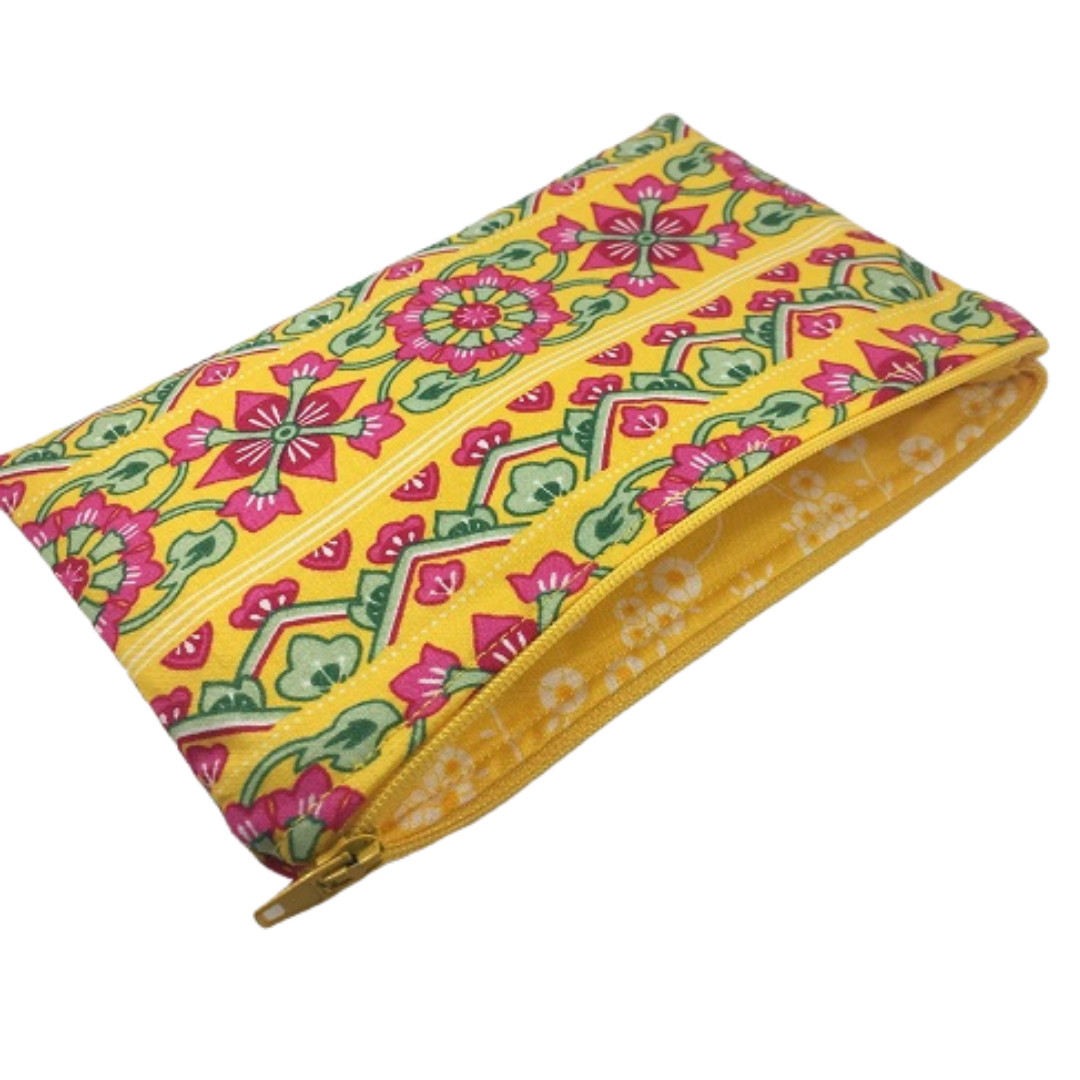 Zip-up Cosmetics Bag - Yellow with Pink and Green