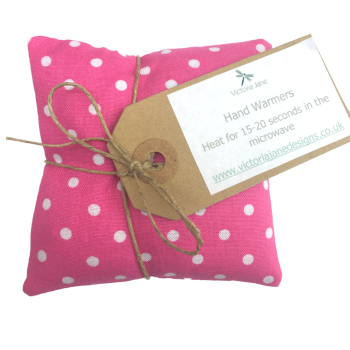 Hand Warmers - Bright Pink/White Spots