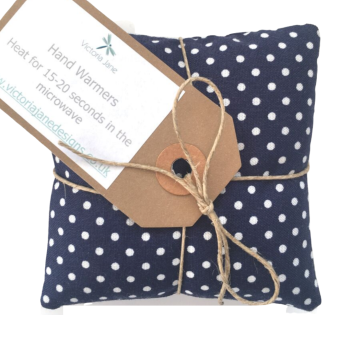Hand Warmers - Navy with White Spots