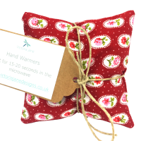 Hand Warmers - Red with Pink Flowers
