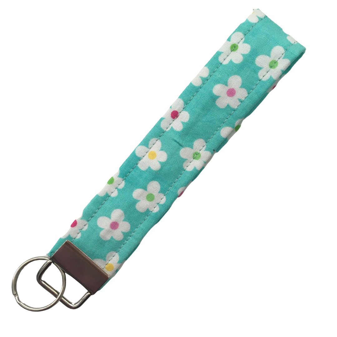 Wristlet - Turquoise with White Flowers