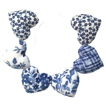 Heart Garland - Blue and White