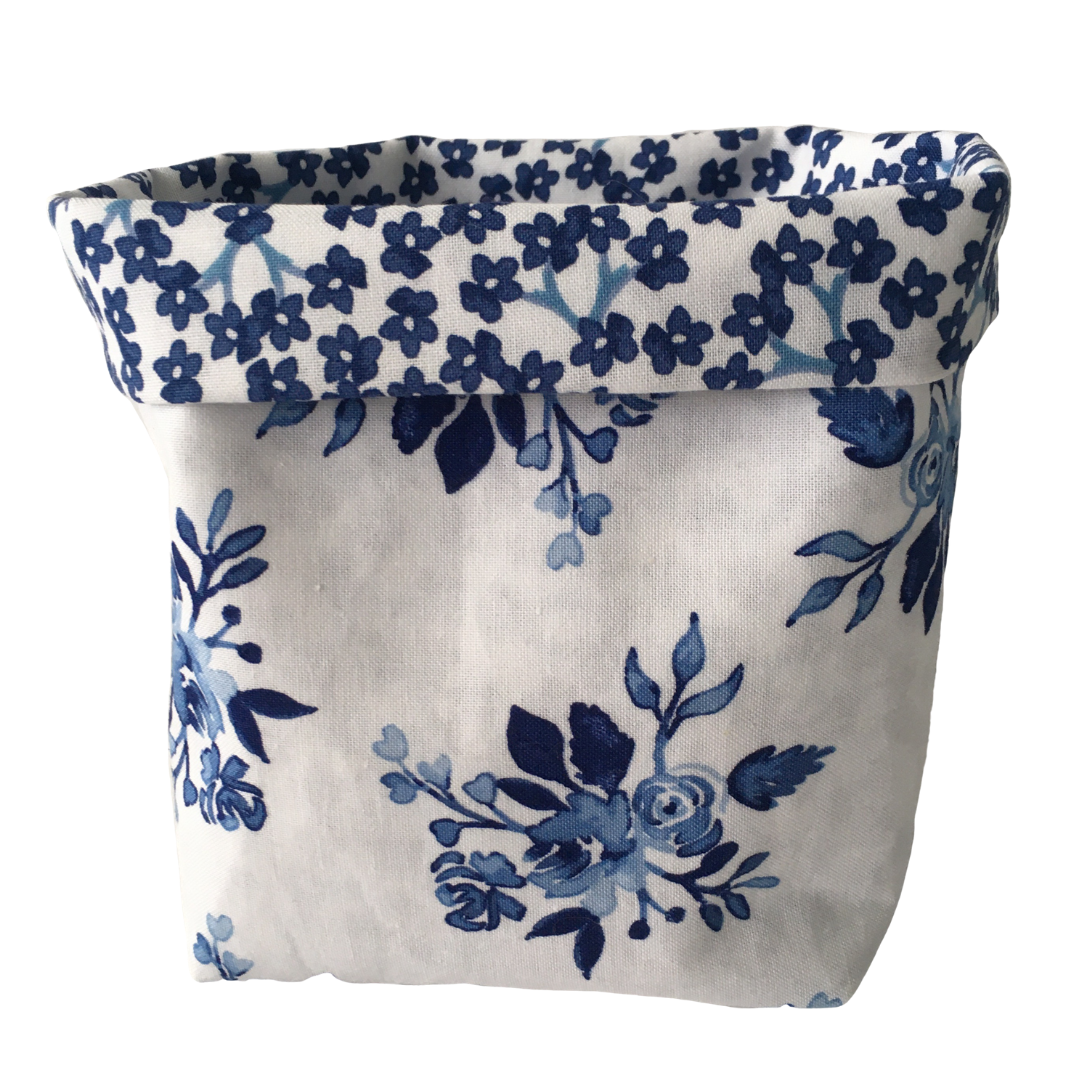 Storage Baskets - Blue and White Flowers (3 sizes to choose from)