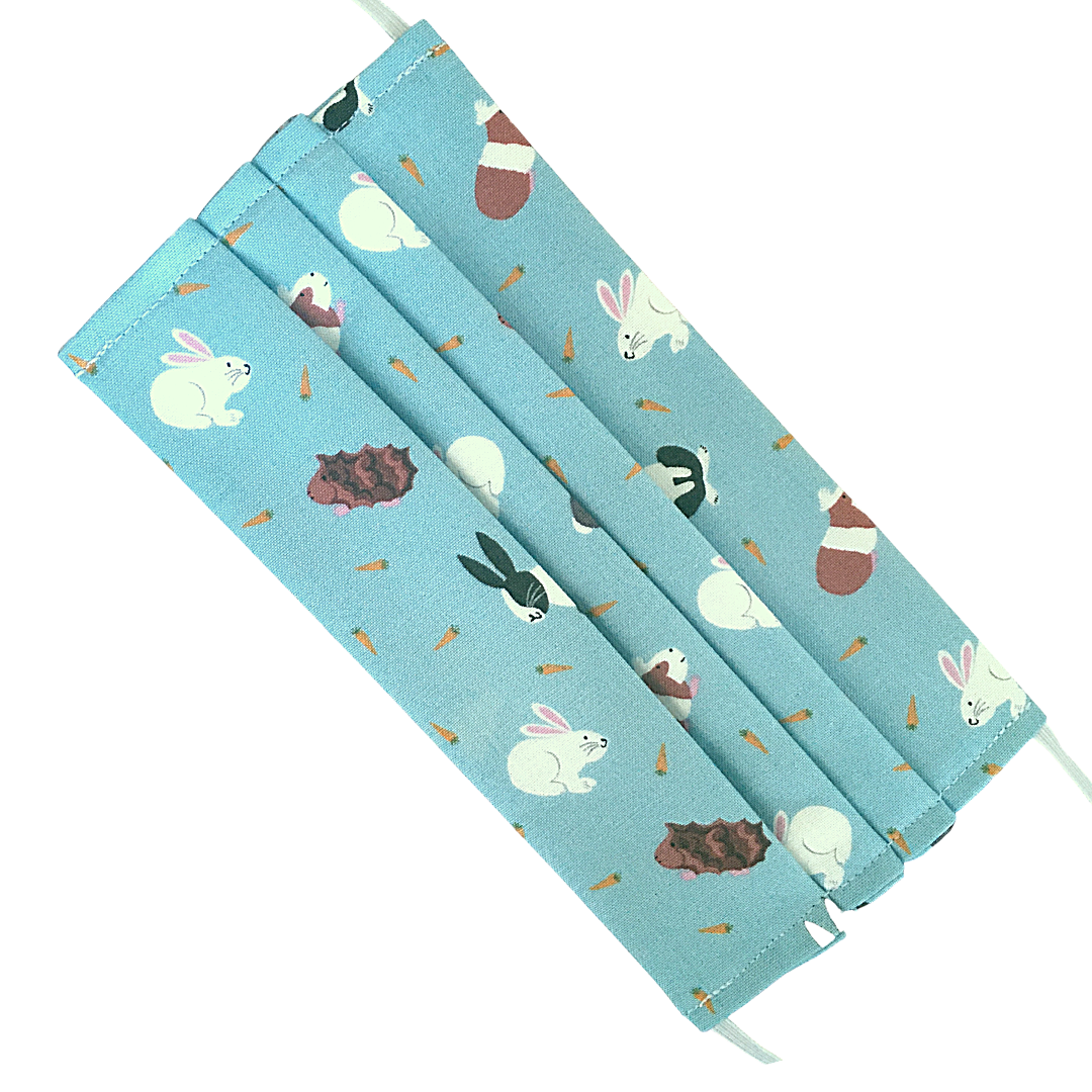 Cotton Face Mask - 129  GUINEA PIGS & RABBITS (picture of the fabric used f