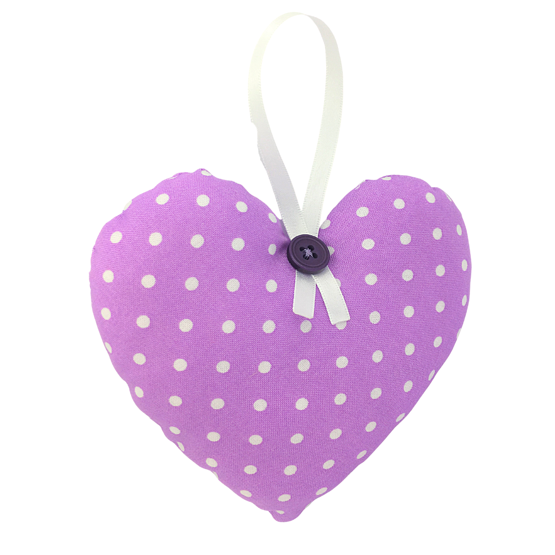 Personalised Keepsake Heart - Purple/White Spots