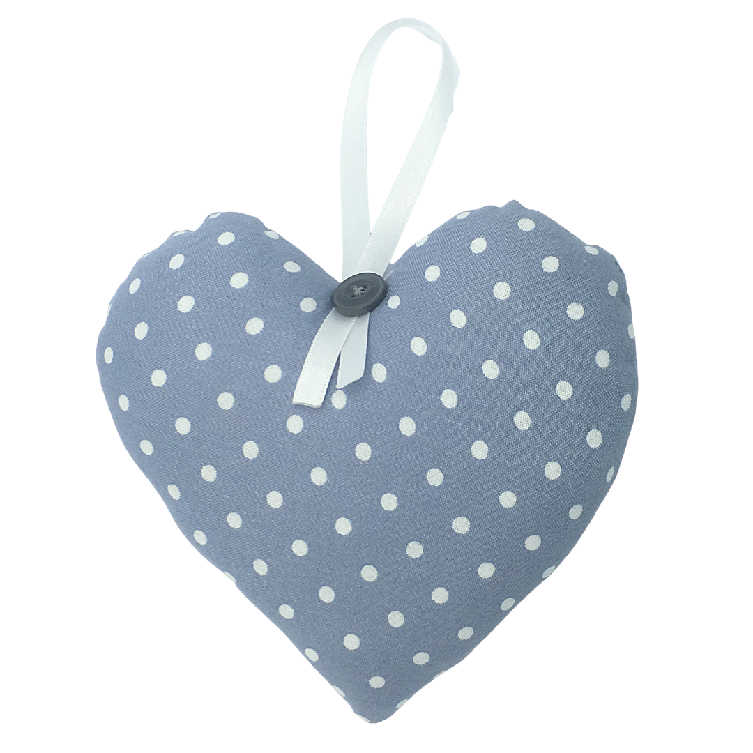 Personalised Keepsake Heart - Light Grey/White Spots