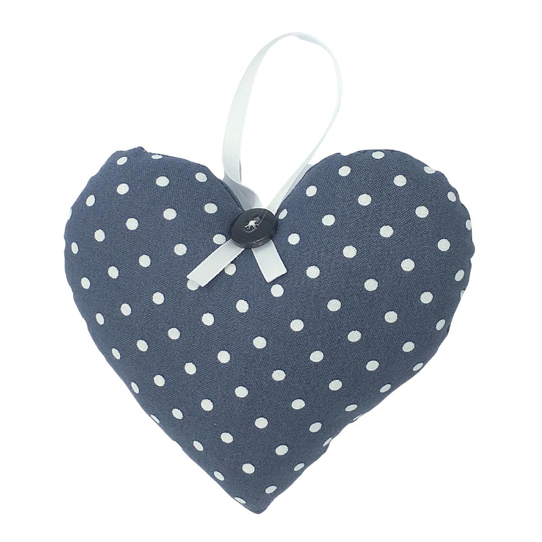 Personalised Keepsake Heart - Dark Grey/White Spots