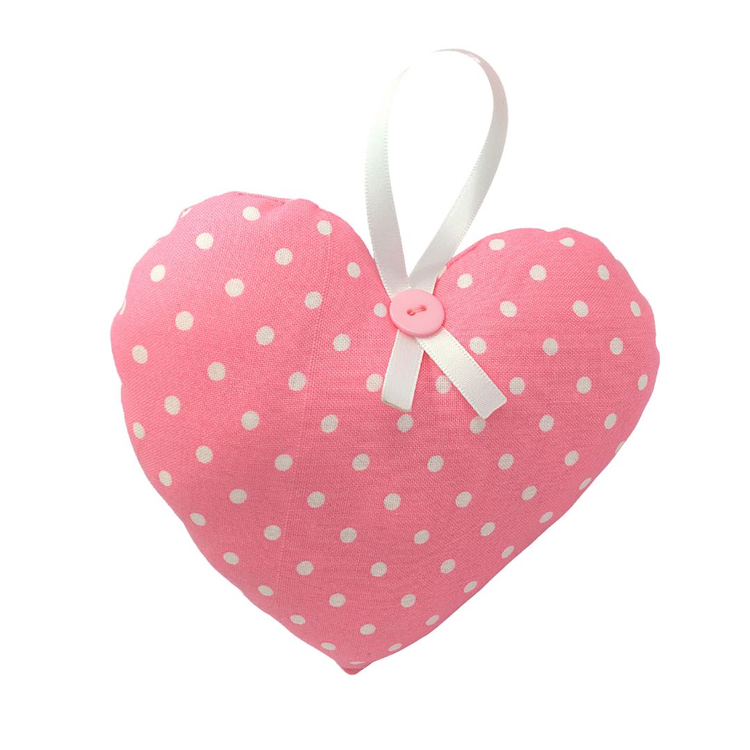Personalised Keepsake Heart - Pink/White Spots