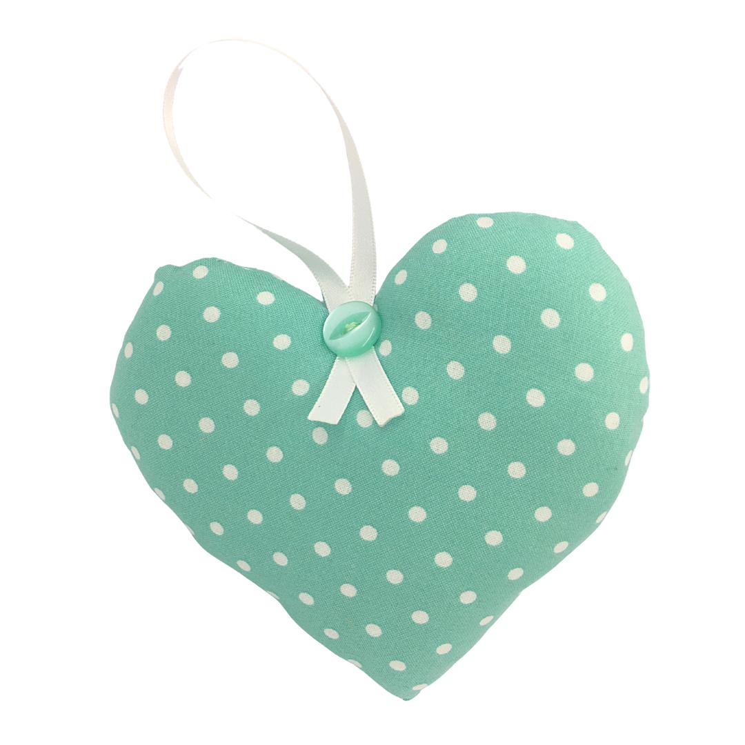 Personalised Keepsake Heart - Green/White Spots