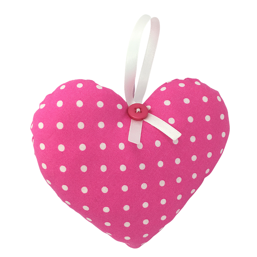 Personalised Keepsake Heart - Bright Pink/White Spots