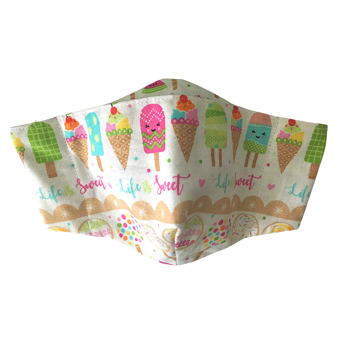 Shaped Cotton Face Mask - ICE CREAMS