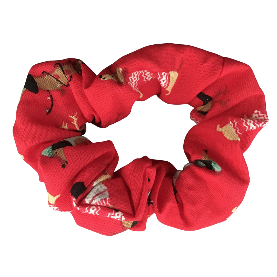 Scrunchie - CHRISTMAS DACHSHUND DOG - RED