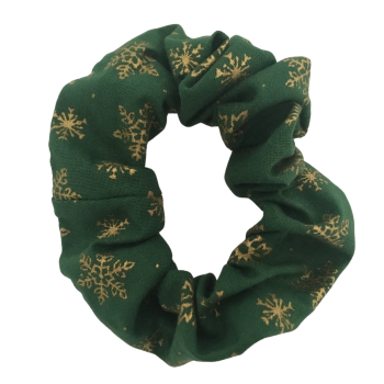 Scrunchie - Green with Gold Snowflakes
