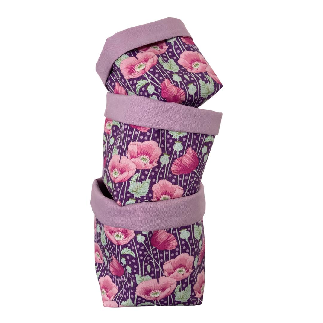 Fabric Baskets - set of 3 - (162/Lilac)