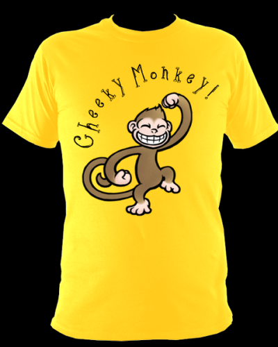 Cheeky Monkey on a bright yellow t shirt