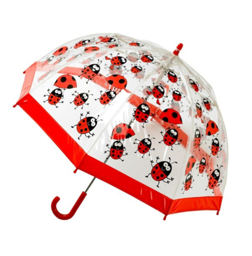 BUGGZ Clear PVC Ladybird / Ladybug Child\'s Dome Umbrella
