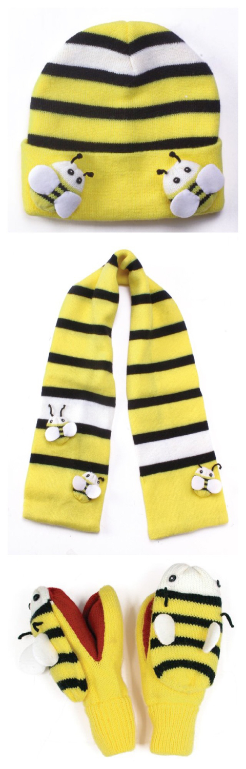 Kidorable Knitted Bee Hat, Scarf & Mittens Set  Age 3-6