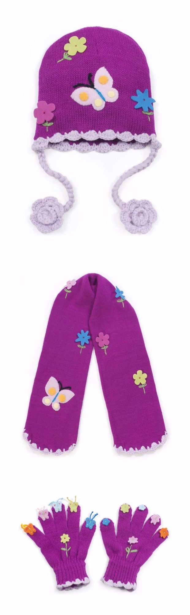 Gorgeous Kidorable Butterfly Knitted Hat, Scarf & Gloves Set 3-6 Years