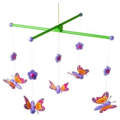 Beautiful Bright Wooden Butterfly Mobile - Fab Gift Nursery/Bedroom