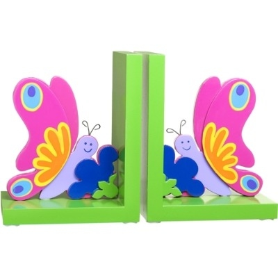 Wonderful Bright & Colourful Wooden Butterfly Bookends