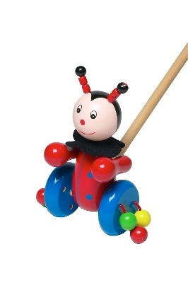 Gorgeous Traditional Wooden Push-Along Ladybird / Ladybug Toy