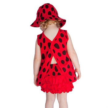 Lovely Ladybird/Ladybug Summer Beach Hat Top Knickers Set by Noo