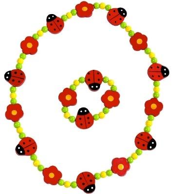 Lovely Wooden Ladybird / Ladybug Necklace & Bracelet Set