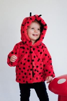 Warm, Snuggly Designer Furry Ladybird Jacket by Noo