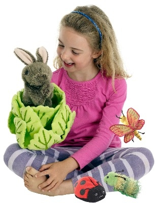 Gorgeous Hide-Away Rabbit in Lettuce Puppet with 3 Mini-Beast Friends