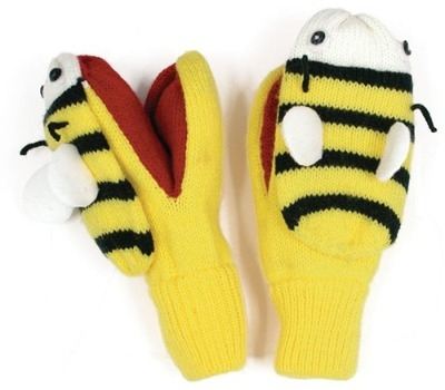 Bright & Fun Kidorable Knitted Bee Mittens / Gloves Approx Age 3-6 Years
