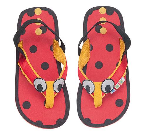 Fab KIDID Kids Ladybird/Ladybug Character Flip Flops