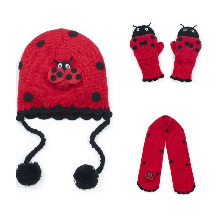 Gorgeous Kidorable Ladybird / Ladybug Knitted Hat, Scarf & Mittens Set 3-6