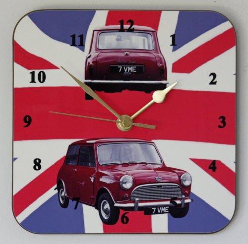 Austin Seven Mini on Union Flag - Square Clock