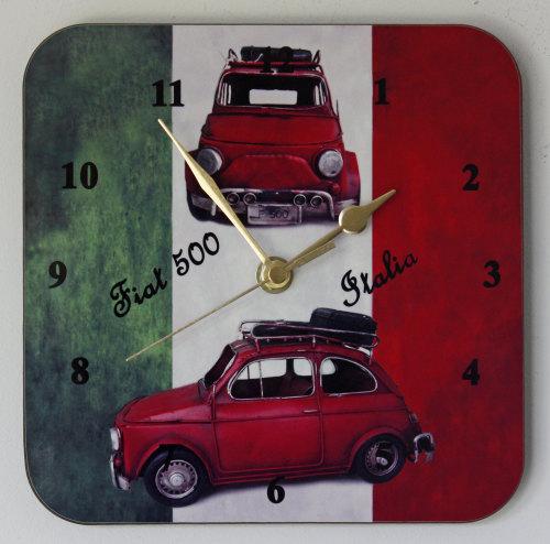 Fiat 500 on Italian Flag - Square Clock