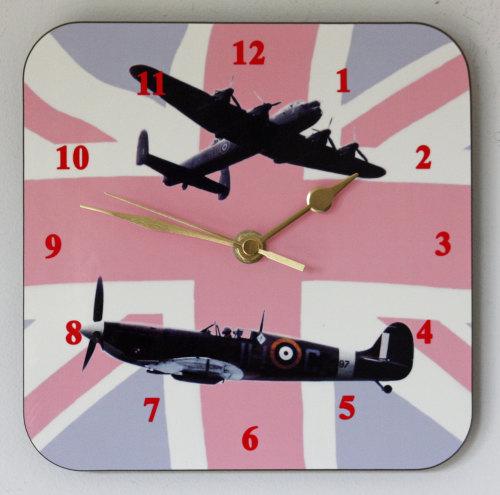 Lancaster & Spitfire - Square Clock
